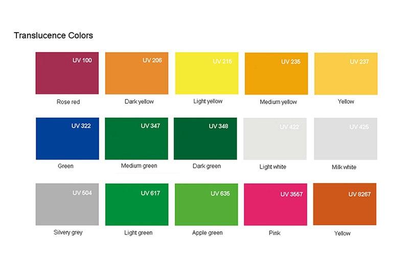 Plexiglass Translucence colors