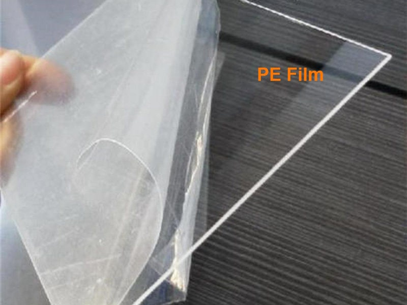 Acrylic sheet with clear pe film